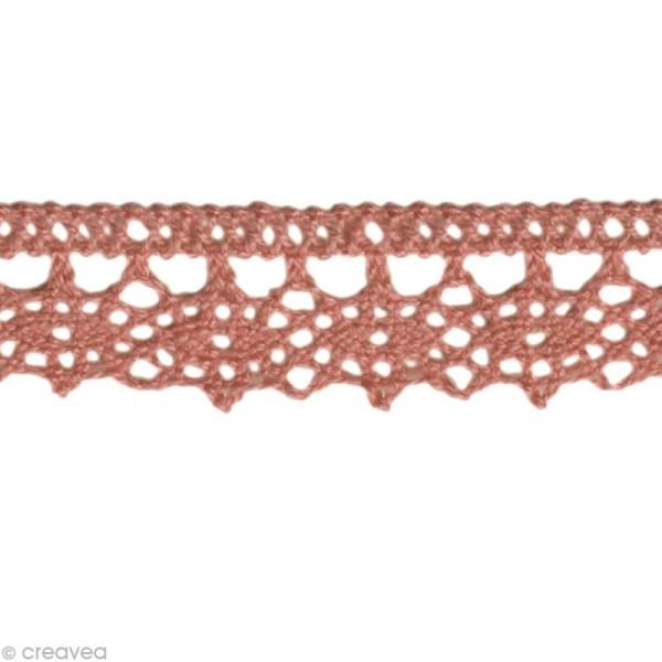 Dentelle coton fantaisie 1,3 cm - Rose ancien au mètre (sur mesure) - Photo n°1