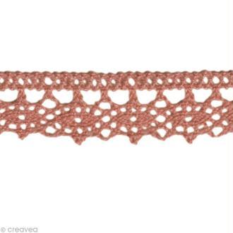Dentelle coton fantaisie 1,3 cm - Rose ancien au mètre (sur mesure)