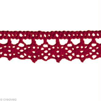 Dentelle coton fantaisie 1,3 cm - Rouge bordeaux au mètre (sur mesure)