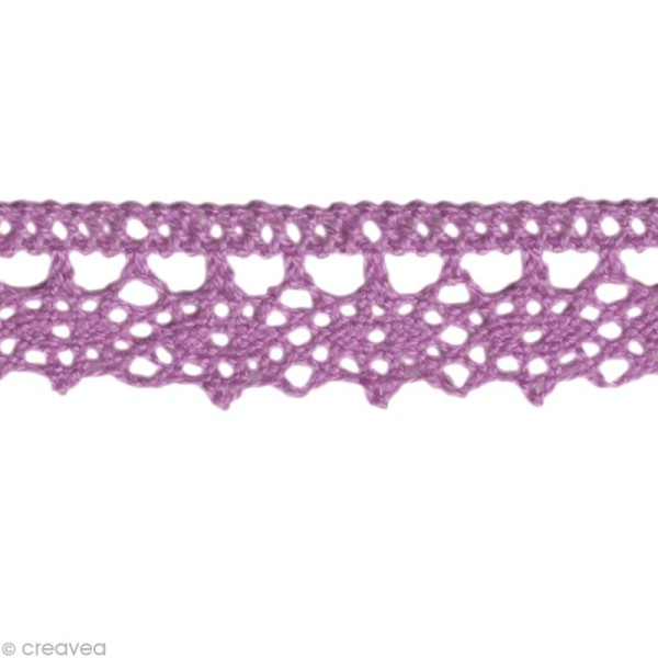 Dentelle coton fantaisie 1,3 cm - Violet lilas au mètre (sur mesure) - Photo n°1