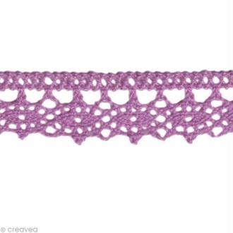 Dentelle coton fantaisie 1,3 cm - Violet lilas au mètre (sur mesure)
