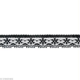 Dentelle polyester fantaisie 1,5 cm - Noir au mètre (sur mesure)