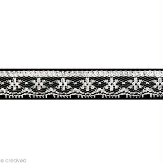 Dentelle polyester fantaisie 1,5 cm - Blanc au mètre (sur mesure)