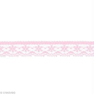 Dentelle polyester fantaisie 1,5 cm - Rose clair au mètre (sur mesure)