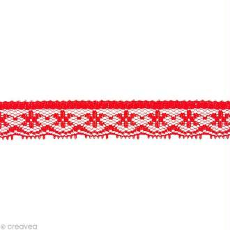 Dentelle polyester fantaisie 1,5 cm - Rouge au mètre (sur mesure)