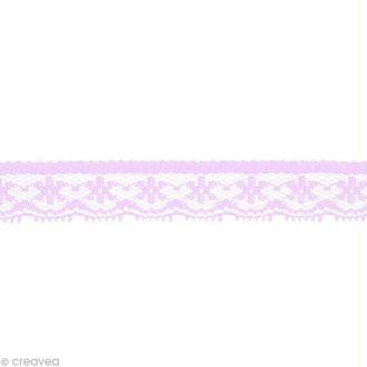 Dentelle polyester fantaisie 1,5 cm - Lilas au mètre (sur mesure)