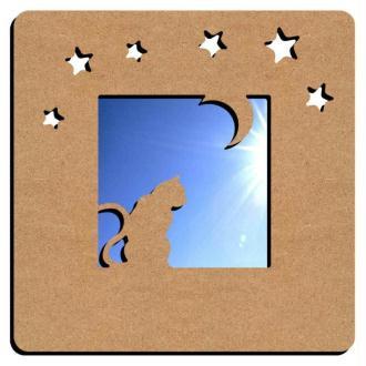 Miroir chat et lune 38 cm