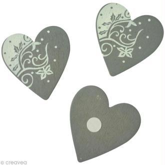 Sticker en bois Coeur gris 5 cm x 6
