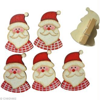 Pince à linge 3,5 cm Père Noël x 6