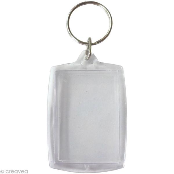 Porte-clé transparent Rectangle pour photo x 6 - Photo n°1