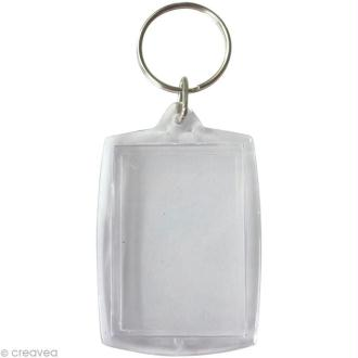 Porte-clé transparent Rectangle pour photo x 6