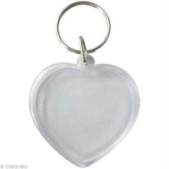 Porte-clé transparent Coeur pour photo x 6
