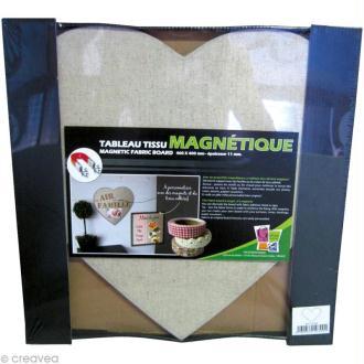 Tableau magnétique tissu Coeur 40 x 40 cm