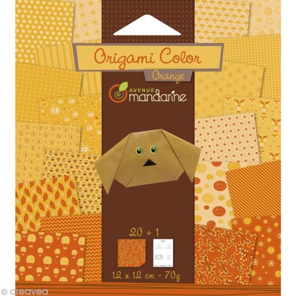Origami color 12 x 12 cm - Orange x 20 - Photo n°1