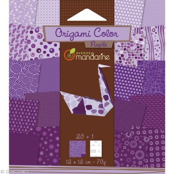 Origami color 12 x 12 cm - Violet x 20 - Photo n°1