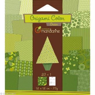 Origami color 12 x 12 cm - Vert x 20