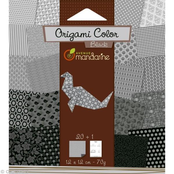 Origami color 12 x 12 cm - Noir et blanc x 20 - Photo n°1