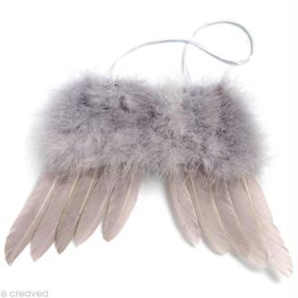 Ailes d'ange en plumes gris argenté 24 x 17 cm