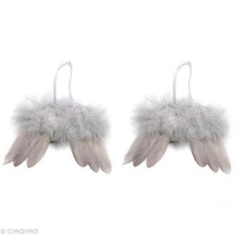 Ailes d'ange en plumes gris argenté 16 x 10 cm - 2 paires