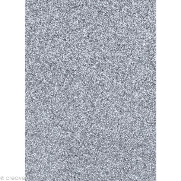 Papier pailleté Argent Scrapbooking - 20 x 29,5 cm - Photo n°1