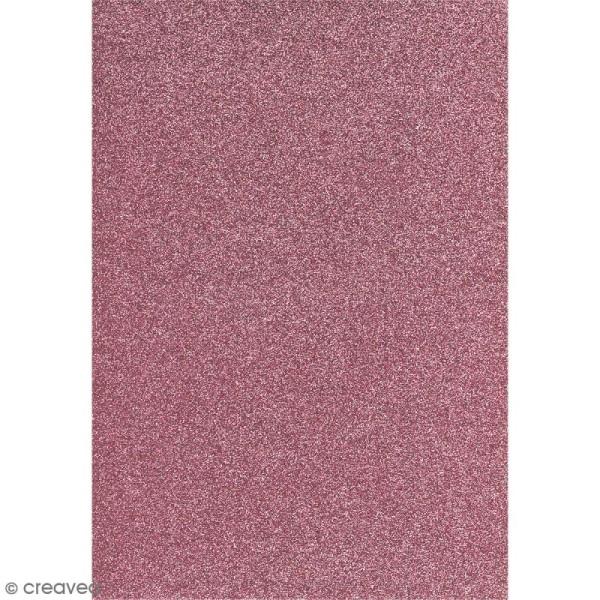 Papier pailleté Rose Scrapbooking - 20 x 29,5 cm - Photo n°1