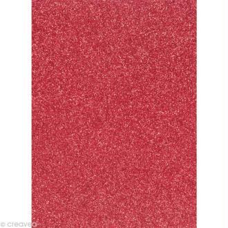 Papier pailleté Rouge Scrapbooking - 20 x 29,5 cm