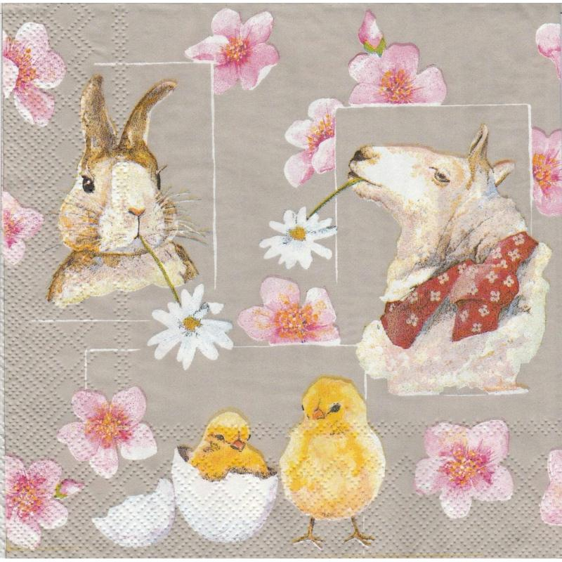 4 serviettes en papier p ques mouton lapin poussin format lunch serviette en papier paques - 4 images 1 mot poussin lapin ...
