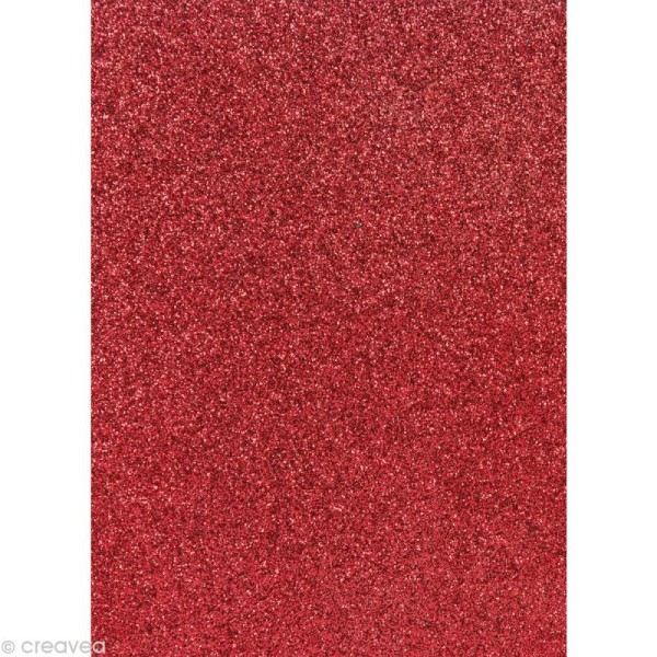 Papier pailleté Rouge framboise Scrapbooking - 20 x 29,5 cm - Photo n°1