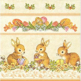4 Serviettes en papier Lapins de Pâques Format Lunch