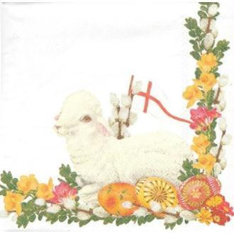 4 Serviettes en papier Mouton de Pâques Format Lunch