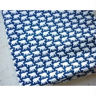 Tissu scandinave 25X110 cm coton Oéko-Tex bleu marine blanc ours