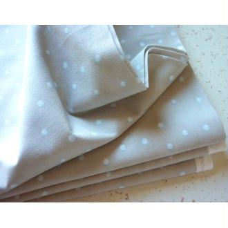Tissu scandinave coton pastel 25X110 cm blanc gris bleu flocon rond