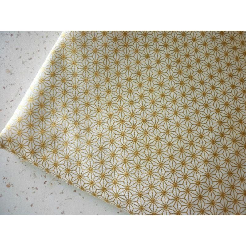 Tissu coton toile japonaise dor e asanoha 25 x 110 cm for Apprendre cuisine japonaise