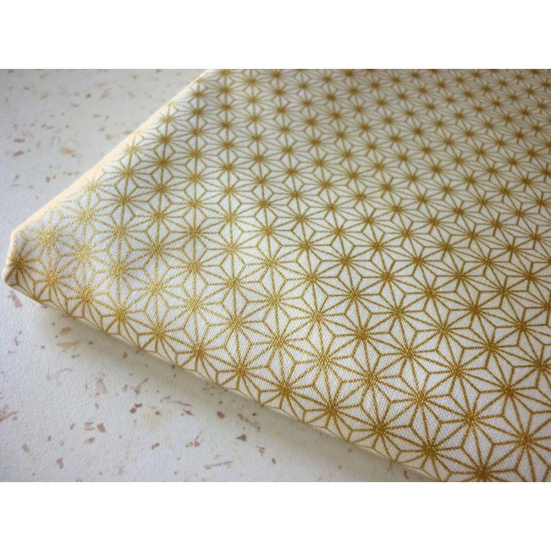 Tissu coton toile japonaise dor e asanoha 25 x 110 cm for Accessoire cuisine japonaise