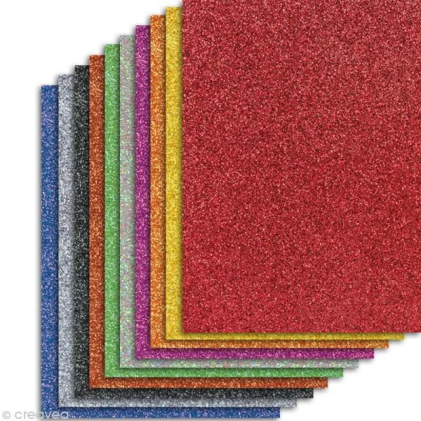 Papier pailleté Assortiment Multicolores - 10 feuilles Scrapbooking - 20 x 29,5 cm - Photo n°1