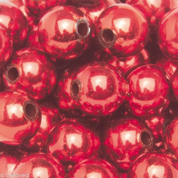 Perles de décoration Rouge 10 mm - env 140 pcs - Photo n°1