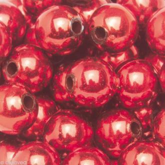 Perles de décoration Rouge 10 mm - env 140 pcs
