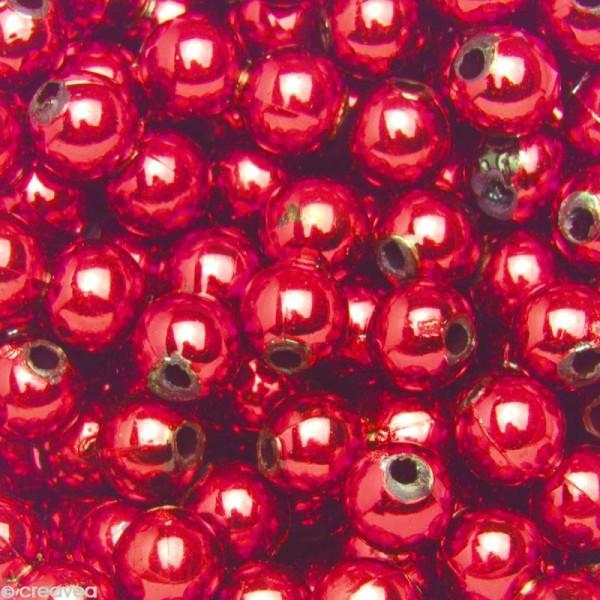 Perles de décoration Rouge 6 mm - env 650 pcs - Photo n°1
