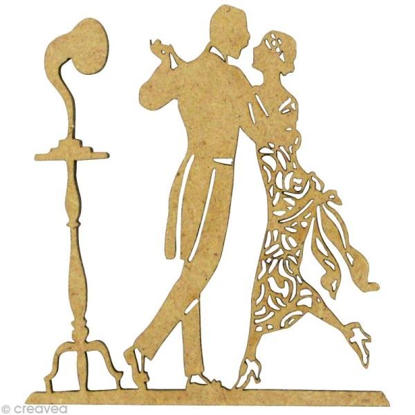 Forme en bois Rétro - Couple danseurs Belle époque 5,8 x 5,3 cm - Photo n°1