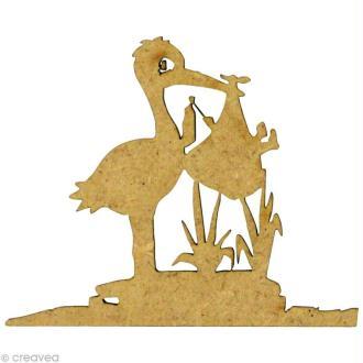 Forme en bois Enfance - Cigogne bébé 5 x 4 cm
