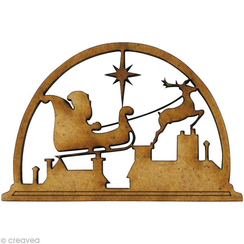 Forme en bois no l p re no l tra neau 5 5 x 3 6 cm for Fabriquer emporte piece noel