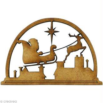 Forme en bois Noël - Père Noël traîneau 5,5 x 3,6 cm
