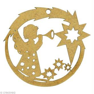 Forme en bois Noël - Boule angelot étoile 4,9 x 5,2 cm