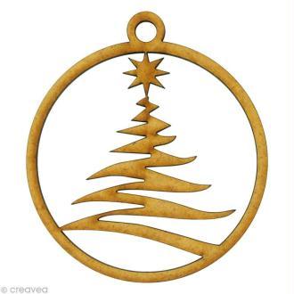 Forme en bois Noël - Boule ajourée sapin zig zag 8 x 8 cm