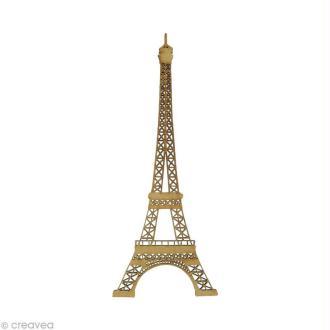 Forme en bois Paris - Tour Eiffel ajourée 10 cm 10 x 4 cm