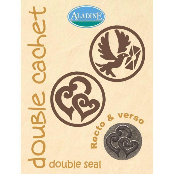 Cachet double mariage double coeur & colombe 2 cm - Photo n°1
