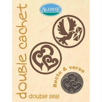 Cachet double mariage double coeur & colombe 2 cm