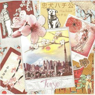 4 Serviettes en papier Japon Tokyo Format Lunch