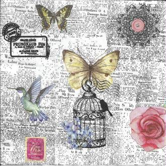 4 Serviettes en papier Journal Nature Papillon Fleur Format Lunch