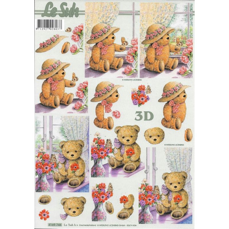Feuille 3D à découper A4 Nounours Fleurs - Photo n°1
